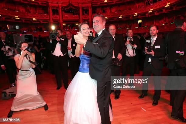 Joachim Llambi and his daughter Katarina Llambi dance during the Semper Opera Ball 2017 at Semperoper on February 3 2017 in Dresden Germany