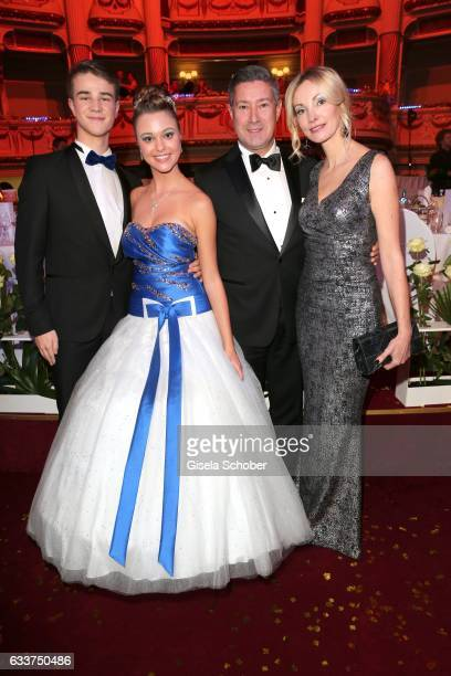 Joachim Llambi and his wife Ilona Llambi and his daughter Katarina and her dance partner during the Semper Opera Ball 2017 at Semperoper on February...