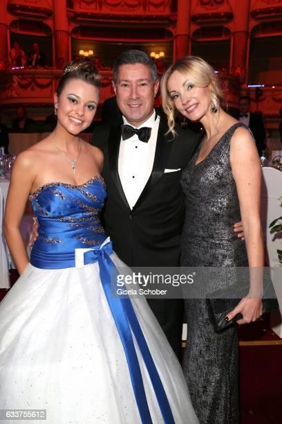 Joachim Llambi and his wife Ilona Llambi and his daughter Katarina during the Semper Opera Ball 2017 at Semperoper on February 3, 2017 in Dresden,...