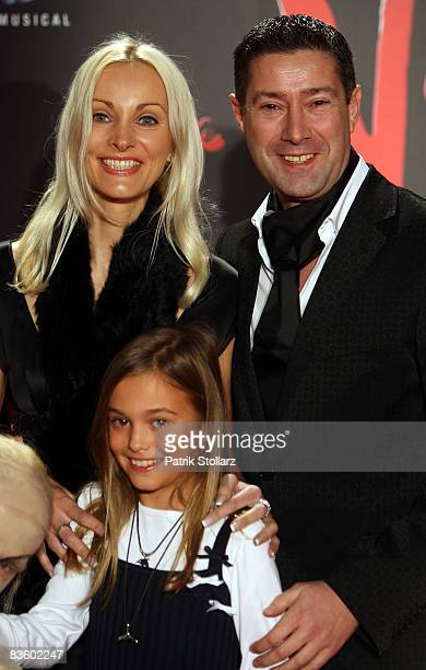 Joachim Llambi with his wife Ilona and daughter Katarina pose prior to the Premiere of the musical 'Dance Of The Vampires' at Metronom theatre on...
