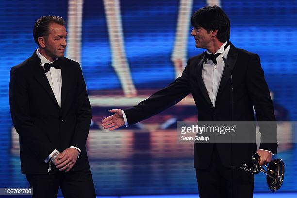 Joachim Loew and Andreas Koepke receive the Special Award of the jury during the Bambi 2010 Award Ceremony at Filmpark Babelsberg on November 11 2010...