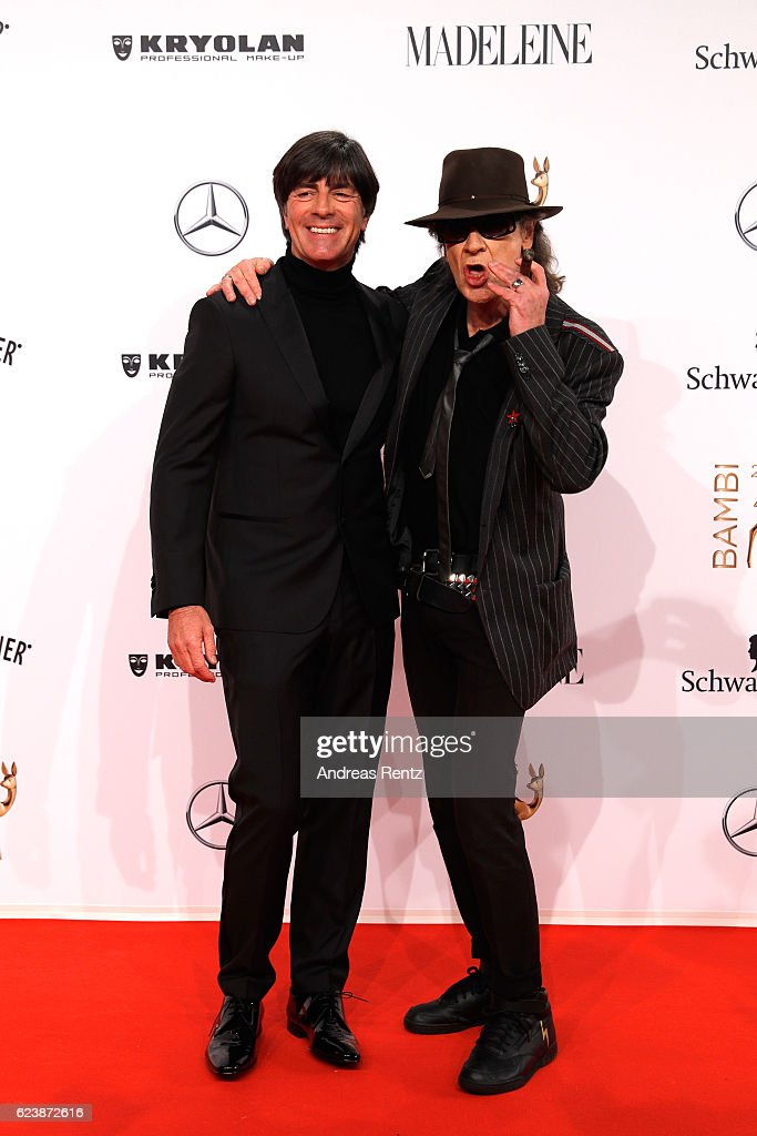 Joachim Loew and Udo Lindenberg arrive at the Bambi Awards 2016 at Stage Theater on November 17, 2016 in Berlin, Germany.