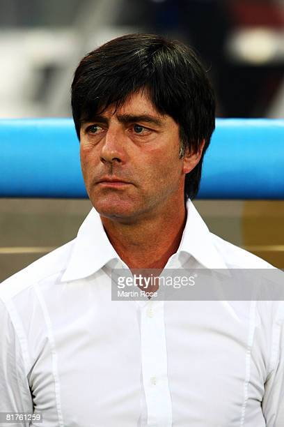 Joachim Loew coach of Germany looks on during the UEFA EURO 2008 Final match between Germany and Spain at Ernst Happel Stadion on June 29, 2008 in...