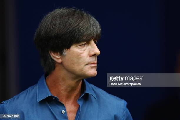 Joachim Loew coach of Germany looks on prior to the FIFA Confederations Cup Russia 2017 Group B match between Australia and Germany at Fisht Olympic...