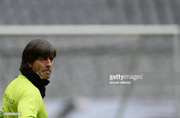 Joachim Loew coach of the German national soccer team during the final practice at the Allianz Arena in Munich Germany 28 March 2016 Germany meets...
