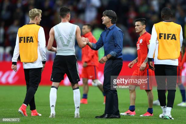 Joachim Loew coachof Germany shakes hands with his players after the FIFA Confederations Cup Russia 2017 Group B match between Germany and Chile at...
