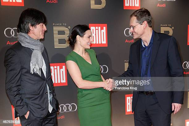 Joachim Loew, Elisabeth Lanz and Michael Mueller attend the Bild 'Place to B' Party on February 07, 2015 in Berlin, Germany.