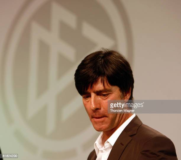Joachim Loew head coach of German Football Association looks on during the DFB LIVE event at the Steigenberger Airport Hotel in Frankfurt on July 4...