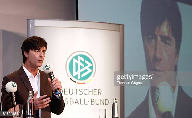 Joachim Loew head coach of German Football Association speaks during the DFB LIVE event at the Steigenberger Airport Hotel in Frankfurt on July 4...