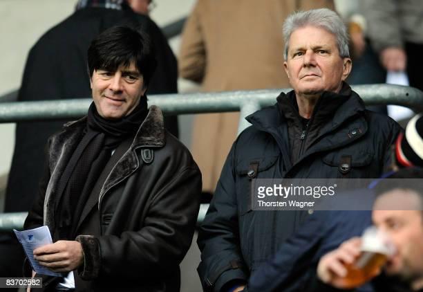 Joachim Loew head coach of german national football team and Dietmar Hopp of Hoffenheim look on during the Bundesliga match between TSG 1899...
