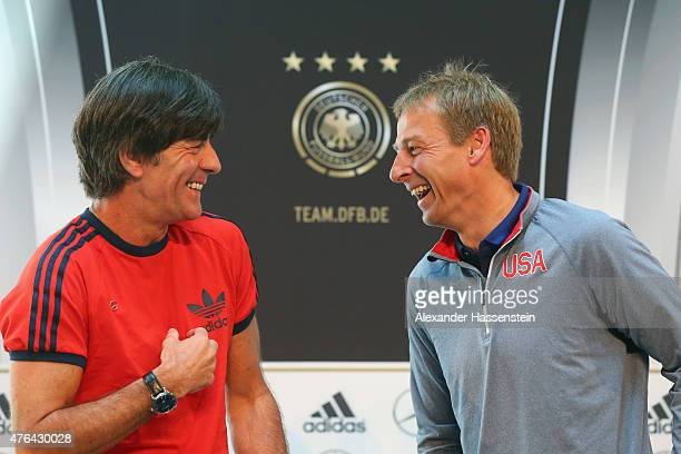 Joachim Loew , head coach of German national team attends with Juergen Klinsmann, head coach of the US national team a press conference at Mercedes...