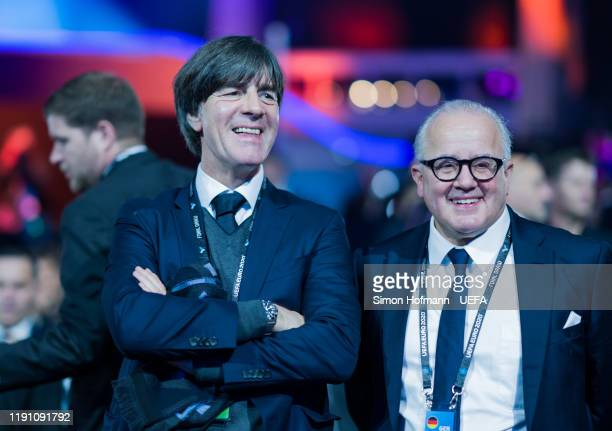 Joachim Loew, head coach of Germany, and DFB president Fritz Keller attend the UEFA Euro 2020 Draw Ceremony at Romexpo on November 30, 2019 in...