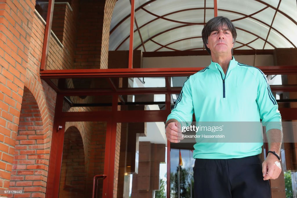 Joachim Loew, head coach of Germany arrives for a Germany press conference ahead of the 2018 FIFA World Cup at the Vatatunki Hotel Complex on June 13, 2018 in Moscow, Russia.