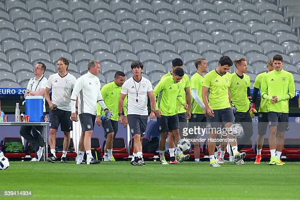Joachim Loew head coach of Germany arrives for a Germany training session at Stade PierreMauray ahead of their opening UEFA EURO 2016 match against...
