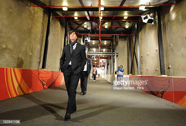 Joachim Loew head coach of Germany arrives for the 2010 FIFA World Cup South Africa Group D match between Ghana and Germany at Soccer City Stadium on...