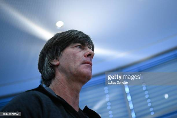Joachim Loew Head Coach of Germany arrives for the press conference ahead of their UEFA Nations League match against The Netherlands on November 18...