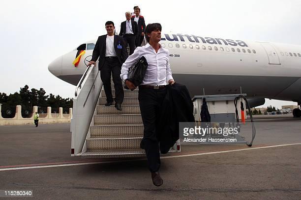 Joachim Loew head coach of Germany arrives with his team at Heydar Aliyev International Airport Baku on June 6 2011 in Baku Azerbaijan