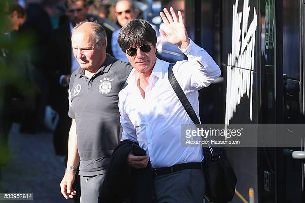 Joachim Loew head coach of Germany arrives with the German national team at team hotel Hotel Giardino Ascona on May 24 2016 in Ascona Switzerland