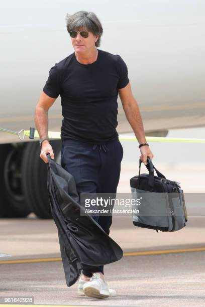 Joachim Loew head coach of Germany arrives with the German National team at Bolzano Airport for the Southern Tyrol Training Camp ahead of the FIFA...