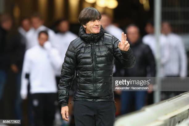 Joachim Loew head coach of Germany arrives with the team for a training session at Opel Arena Mainz ahead of their FIFA 2018 World Cup Group C...