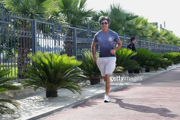 Joachim Loew head coach of Germany returns from his morning run on Adler Beach Boulevard at the team Hotel Radisson Blu Paradise Resort Spa a on June...