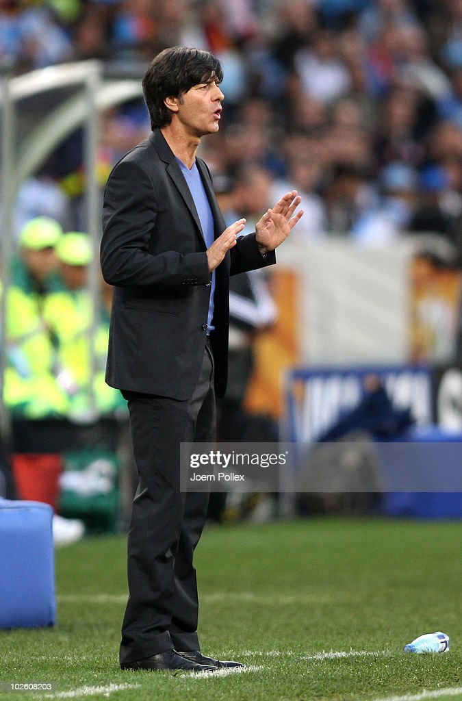 Joachim Loew head coach of Germany directs his team during the 2010 FIFA World Cup South Africa Quarter Final match between Argentina and Germany at Green Point Stadium on July 3, 2010 in Cape Town, South Africa.