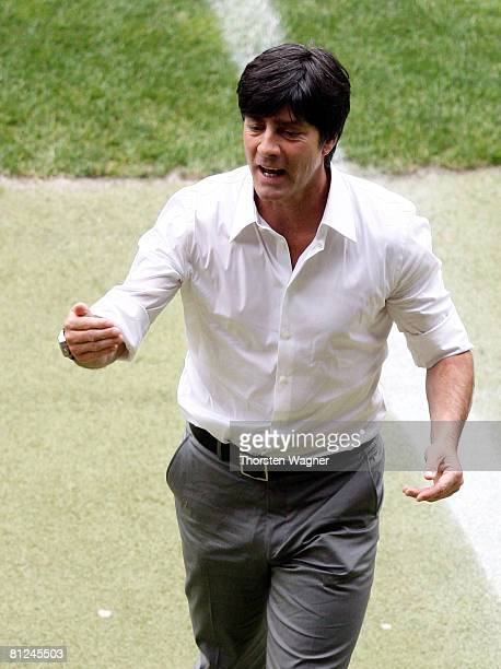 Joachim Loew head coach of Germany gestures during the international friendly match between Germany and Belarus at the FritzWalter stadium on May 27...