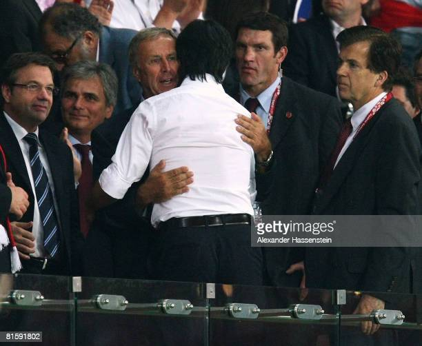 Joachim Loew , head coach of Germany is congratulated by Josef Hickersberger, head coach of Austria after the UEFA EURO 2008 Group B match between...