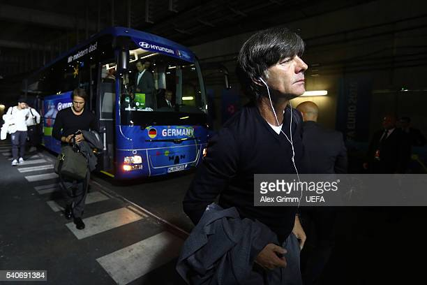 Joachim Loew head coach of Germany is seen on arrival at the stadium prior to the UEFA EURO 2016 Group C match between Germany and Poland at Stade de...
