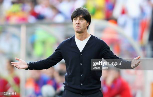 Joachim Loew head coach of Germany is stunned as his side has Miroslav Klose sent off and then go a goal behind during the 2010 FIFA World Cup South...