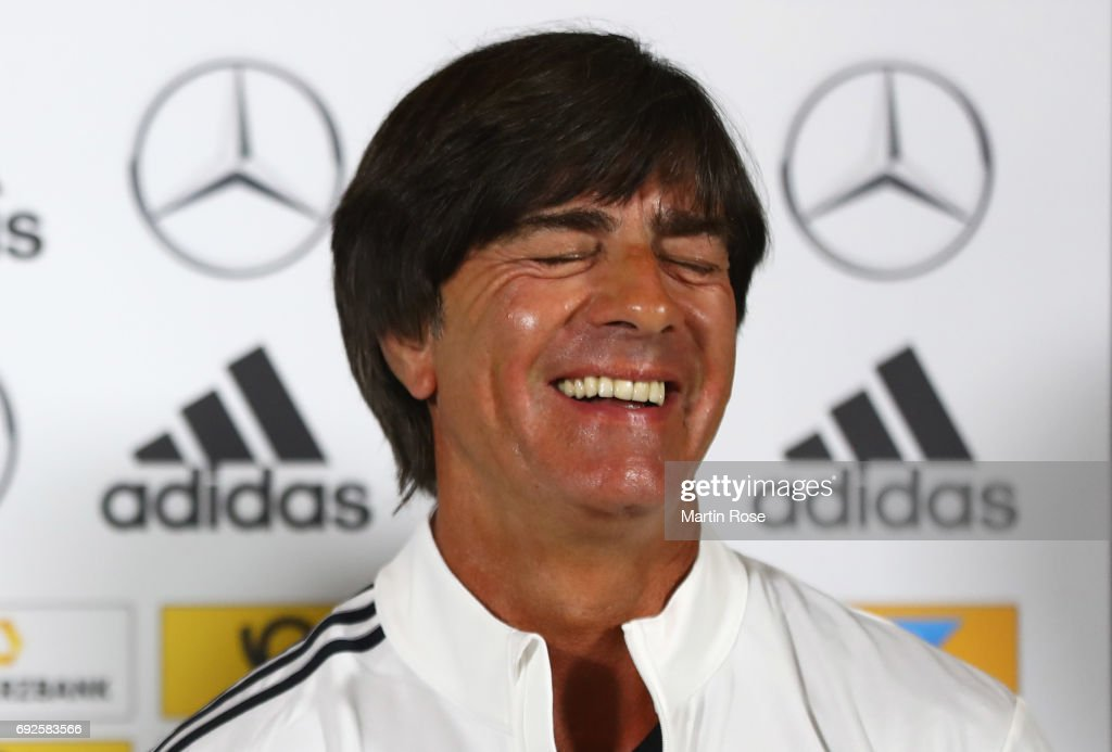 Joachim Loew head coach of Germany laughs during a Germany press conference ahead of their international friendly match against Denmark at Brondby Stadion on June 5, 2017 in Brondby, Denmark.