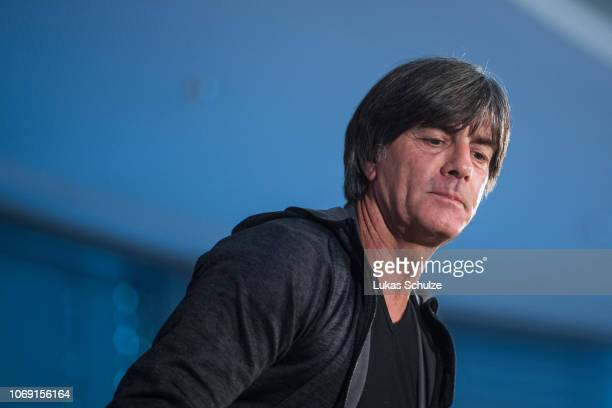 Joachim Loew Head Coach of Germany leaves the podium after the press conference ahead of their UEFA Nations League match against The Netherlands on...