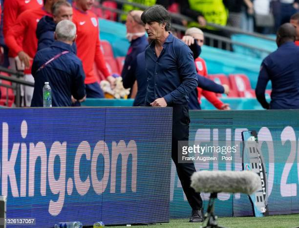 Joachim Loew, Head Coach of Germany looks dejected after the UEFA Euro 2020 Championship Round of 16 match between England and Germany at Wembley...