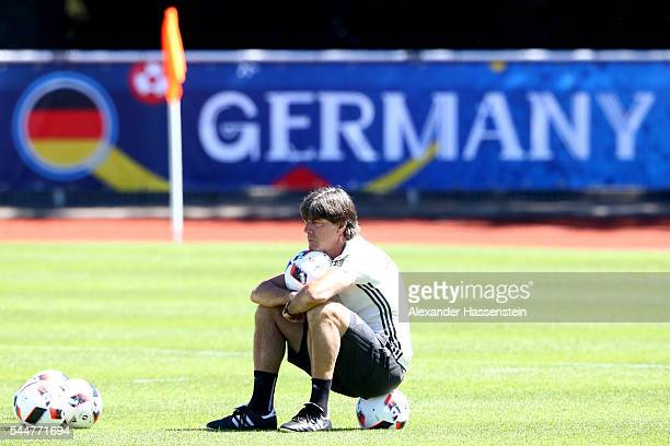 Joachim Loew head coach of Germany looks on during a Germany training session at Ermitage Evian on July 04 2016 in EvianlesBains France
