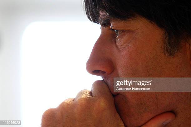 Joachim Loew head coach of Germany looks on during a press conference on June 5 2011 in Vienna Austria