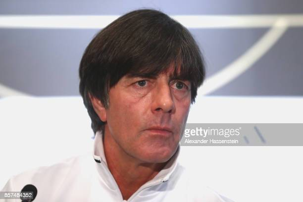 Joachim Loew head coach of Germany looks on during a team Germany press conference at Stormont Ballroom at Hastings Stormont Hotel on October 4 2017...