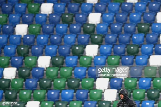 Joachim Loew head coach of Germany looks on during a team Germany training session at Windsor Park ahead of their FIFA 2018 World Cup Group C...