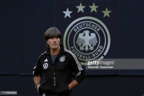 Joachim Loew head coach of Germany looks on during a training session of the German national team prior to the UEFA Euro 2020 Qualifier match against...