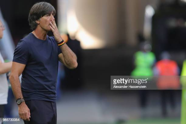 Joachim Loew head coach of Germany looks on during the 2018 FIFA World Cup Russia group F match between Korea Republic and Germany at Kazan Arena on...