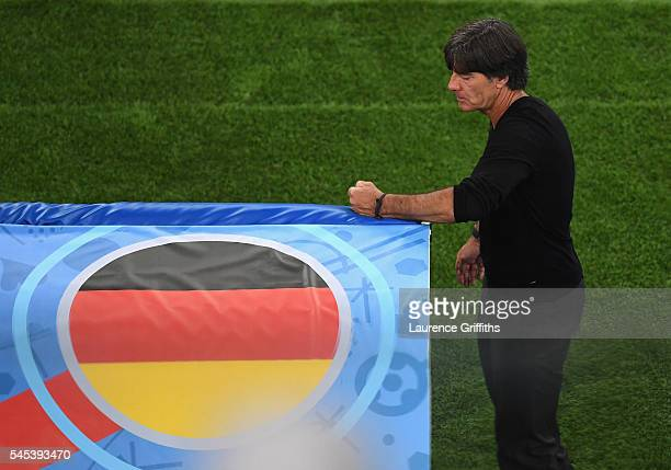 Joachim Loew head coach of Germany looks on during the UEFA EURO semi final match between Germany and France at Stade Velodrome on July 7 2016 in...