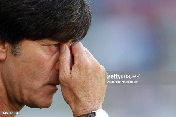 Joachim Loew, head coach of Germany looks on prior the international friendly match between Switzerland and Germany at St. Jakob-Park on May 26, 2012...