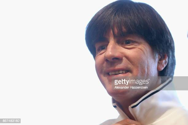 Joachim Loew head coach of Germany looks on prior to a team Germany press conference at Stormont Ballroom at Hastings Stormont Hotel on October 4...