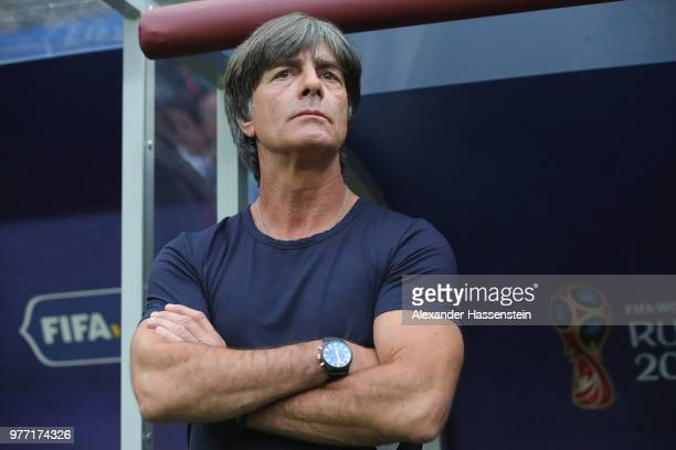 Joachim Loew head coach of Germany looks on prior to the 2018 FIFA World Cup Russia group F match between Germany and Mexico at Luzhniki Stadium on...