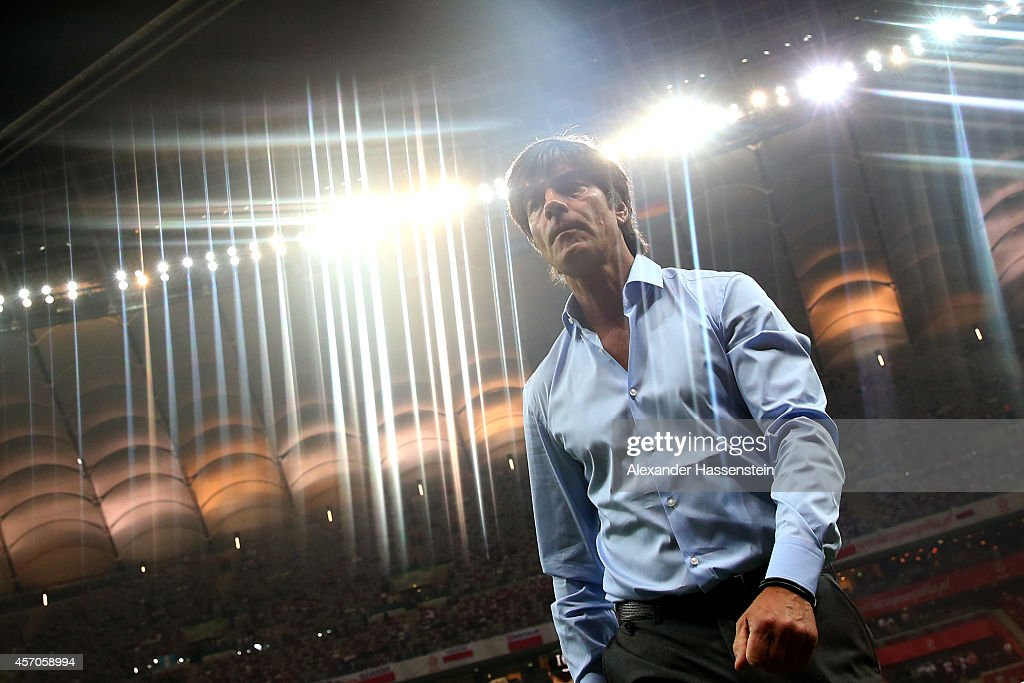 Joachim Loew, head coach of Germany looks on prior to the EURO 2016 Group D qualifying match between Poland and Germany at Narodowy Stadium on October 11, 2014 in Warsaw, Poland.