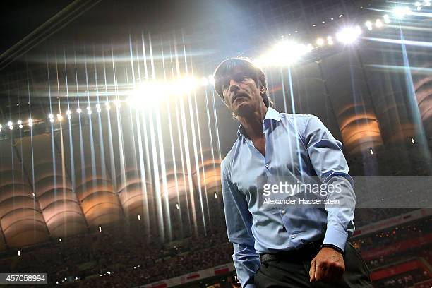 Joachim Loew head coach of Germany looks on prior to the EURO 2016 Group D qualifying match between Poland and Germany at Narodowy Stadium on October...