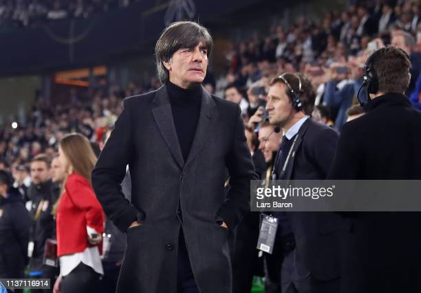 Joachim Loew Head Coach of Germany looks on prior to the International Friendly match between Germany and Serbia at Volkswagen Arena on March 20 2019...