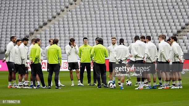 Joachim Loew head coach of Germany participates in the training session ahead of the international friendly match between Germany and Italy at...