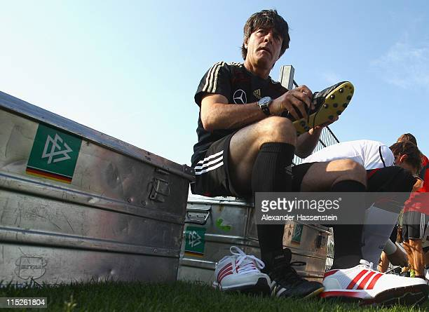 Joachim Loew head coach of Germany prepares for a training session on June 5 2011 in Vienna Austria