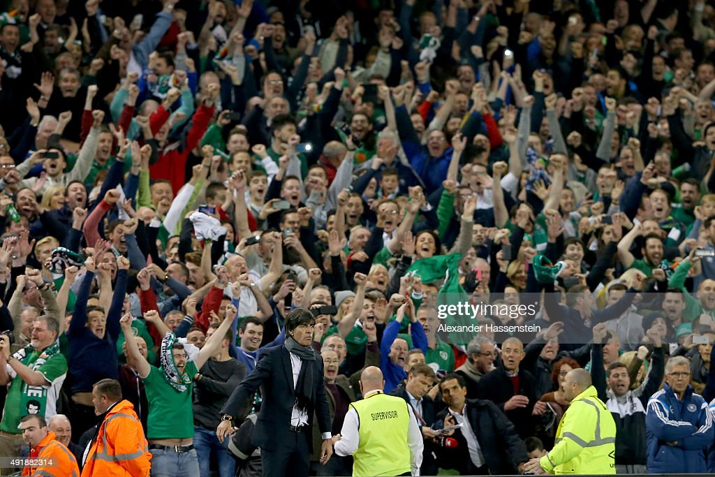 Joachim Loew, head coach of Germany reacts at the final whistle of the UEFA EURO 2016 Qualifier group D match between Republic of Ireland and Germany at the Aviva Stadium on October 8, 2015 in Dublin, Ireland.