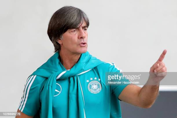 Joachim Loew head coach of Germany reacts during a team Germany training session at Bayern Muenchen Campus on September 4 2018 in Munich Germany